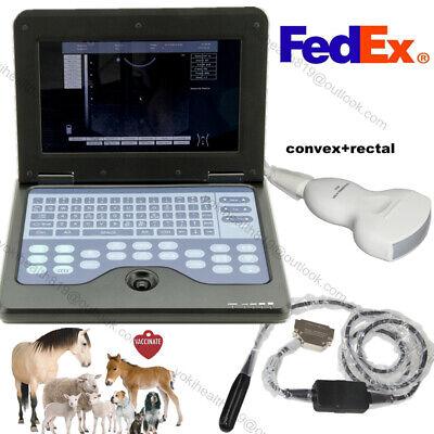 Vet Digital Laptop Ultrasound Scanner Veterinary Convexrectal 2 Probes Us Fedex