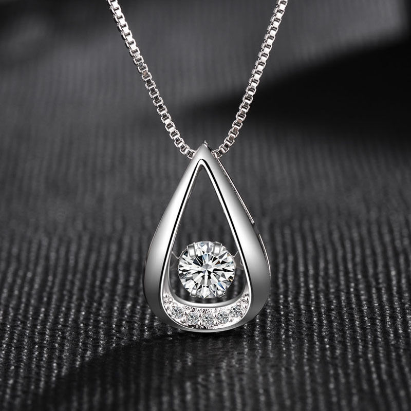 Jewellery - Water Drop Pendant 925 Sterling Silver Chain Necklace Womens Ladies Jewellery UK