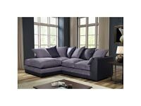 Very nice BRAND NEW black leather and grey fabric corner sofa ,any side in stock,can deliver