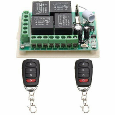 315MHZ 4CH DC12V Relay RF Wireless Remote Control Switch Receiver+2 Transmitter