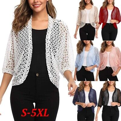Sleeve Open Shrug - Women's Fashion Open Front Cardigan 3/4 Sleeve Shrug Lace Floral Crochet Tops