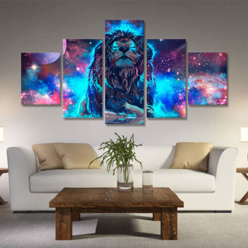 5pcs Modern Animals Lion Picture Wall Art Decor Oil Painting