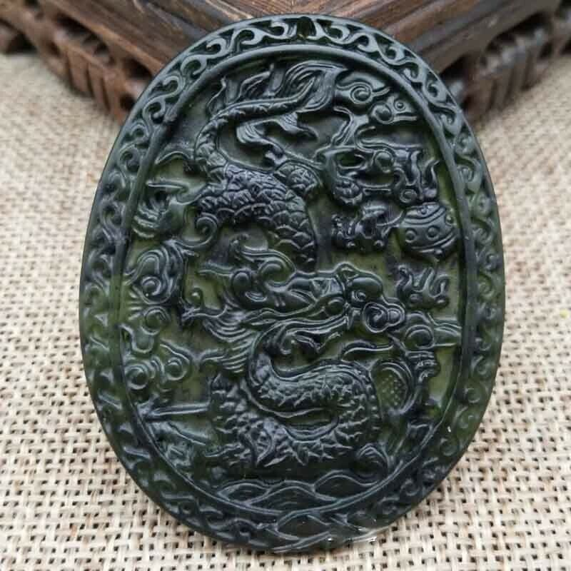Chinese Natural Black Green Jade Dragon Hand Carved Pendant Lucky Amulet Gift