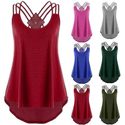 Womens Summer Off Shoulder Strap T Shirt Sleeveless Plus Size Tank Tops Blouse Sleeveless Womens Top