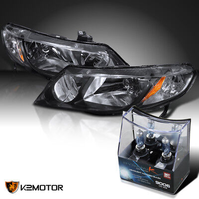 For 2006-2011 Honda Civic Sedan 4Dr JDM Black Headlights+2x Halogen Light Bulbs