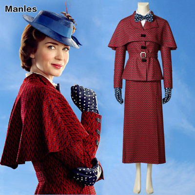 Mary Poppins Nanny Costume Halloween Cosplay Classic Outfit English Victorian  (English Nanny Costume)