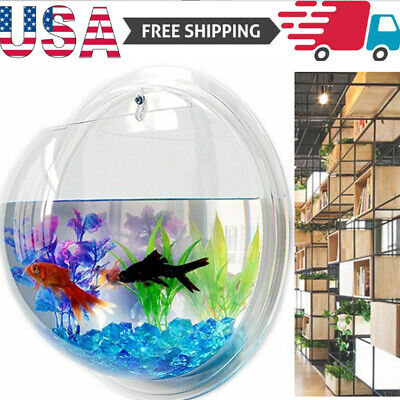 US Aquarium Tank Aquatic Pet Wall Mount Fish Tank Acrylic Fish Bowl Wall Hanging