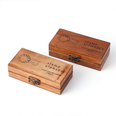 30pcs Retro Alphabet Letter Uppercase Lowercase Wooden Rubber Stamp Set Craft  (Wooden Stamp Set)