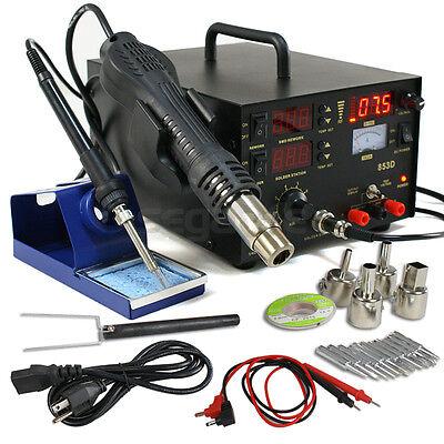 Pro Smd Dc Power Supply Hot Air Iron Gun Rework Soldering Station Welder 853d