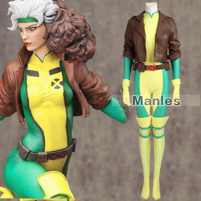 X-Men Anna Marie Rogue Cosplay Costume Mystique Mrs Marvel Full Set Jumpsuit