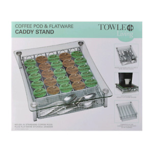 Towle Living Coffee Maker Stand, coffee pod and flatware caddy