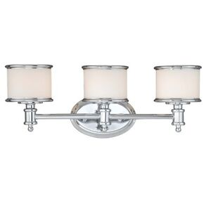 New 3 Light Bathroom Vanity Lighting Fixture Chrome Frosted Opal Glass Ebay