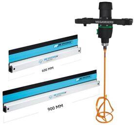 Refina Eibenstock MM30 1800w Megamixer Mixing Drill + Ox Speedskim Plastic Flex Set 600mm & 900mm