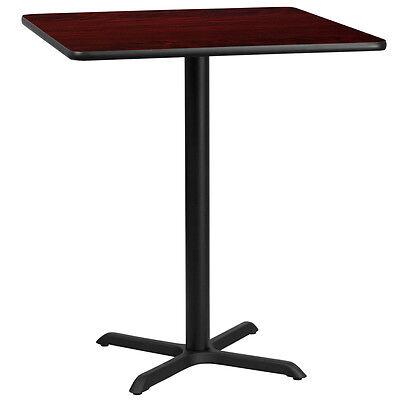 36 Square Mahogany Laminate Table Top With 30 X 30 Bar Height Base