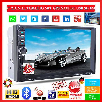 "7"" Doppel 2Din Autoradio Touchscreen GPS Navigation MP5 MP3 Bluetooth USB AUX SD"