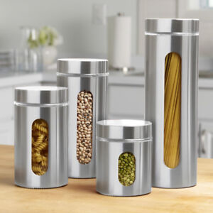 Chef's Mark Metal Canisters with Glass Windows Set of 4