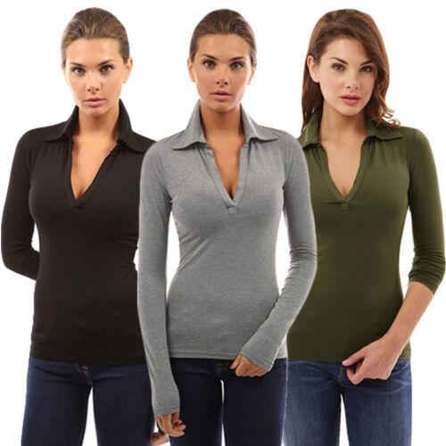 Womens V Neck Long Sleeve Polo Shirt Slim Fit Casual Shirts Tops Blouse USA