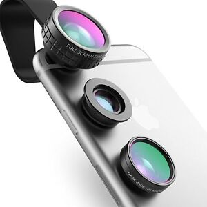AUKEY-Phone-Camera-Lens-Kit-3-in-1-Clip-On-180-Fisheye-Lens-110-Wide-Angle-L