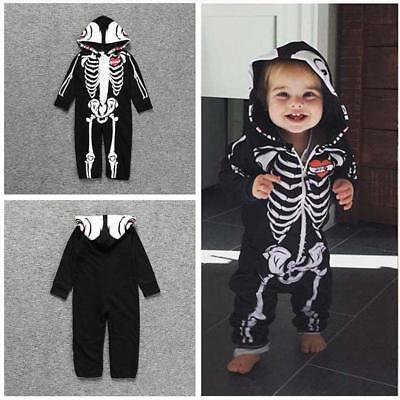 Hot Newborn Baby Girl Boy Costume Skeleton Romper Bodysuit Jumpsuit Outfit 2019