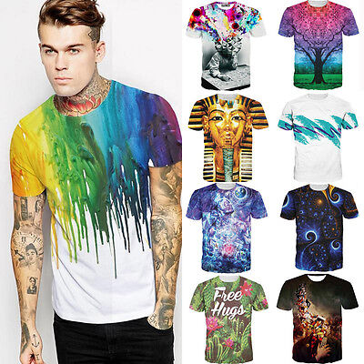 Rainbow Crayon 3d Print Womens Mens Graphic Tee Short Sleeve Street T-Shirt Tops - Crayon T Shirt