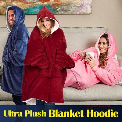 Blanket Sweatshirt Hoodie Ultra Plush Soft Warm  Winter Hooded Coats Bathrobe (Hoodie Blanket)