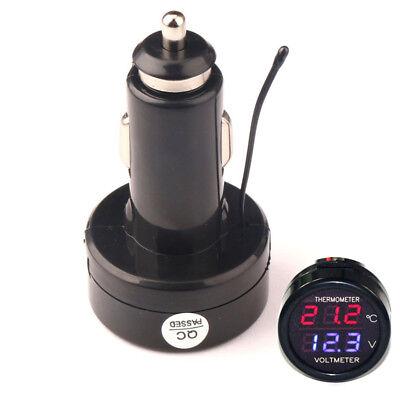 Cigarette Lighter Plug Digital Voltmeter Temperature Gauge 2in1 12v24v Car Volt