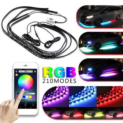 60+90cm RGB LED Underbody Car Tube Strip Underglow Rock Light Kit APP bluetooth
