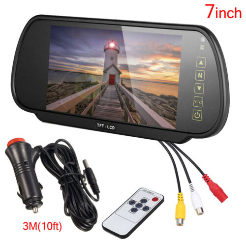 "7"" Car TFT LCD Mirror Monitor for Reverse Car Rear View Backup Camera Parking"