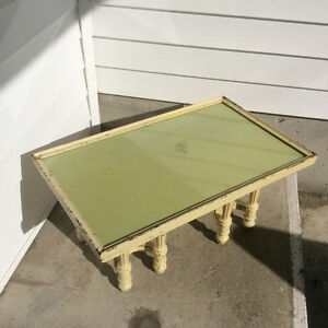 antique wooden small coffee table w/ framed glass tray top