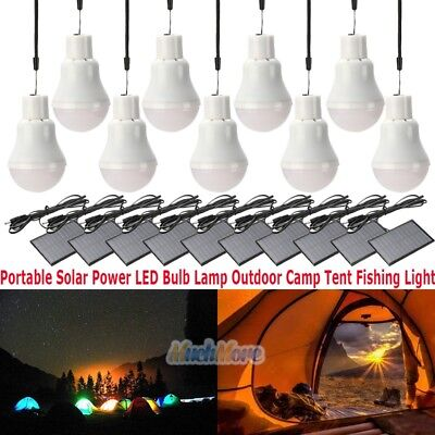 10x Portable Solar Power LED Bulb Lamp Outdoor Camp Tent Fishing Light US -