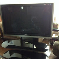 Panasonic 50 inch Viera plasma tv with 2 tiered glass stand