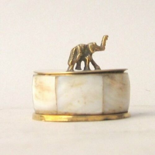 Saluda Elephant Votive, Mother of Pearl, Brass, Pill container, Vintage Style