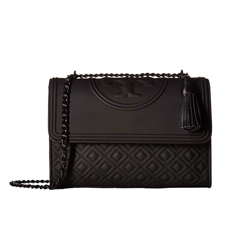 Tory Burch Fleming Matte Convertible Shoulder Bag Black Large NEW