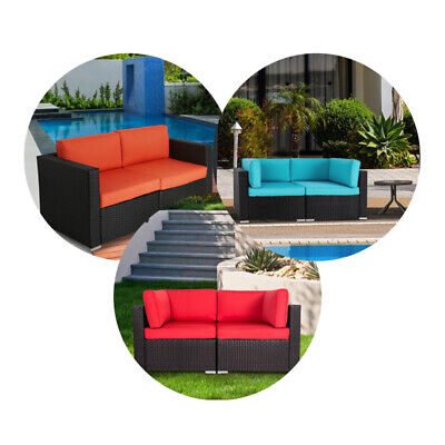 2PCs Wicker Loveseats Patio Sectional Corner Sofa All Weather Rattan Outdoor Set ()