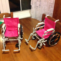 Wheelchairs for dolls the size of Newberry or American girl.