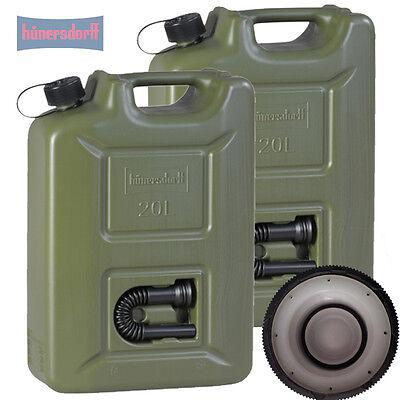 Hünersdorff 2x Benzinkanister Kraftstoff Kanister olivgrün 20 L UN-Zulassung Set