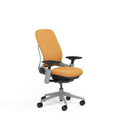 Large Steelcase Leap Plus Adjustable Chair V2 Buzz2 Carrot Fabric 500lb Platinum