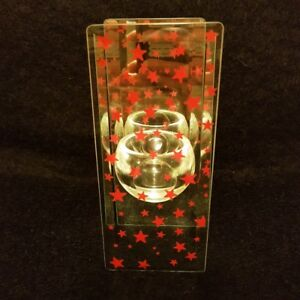 Xmas tea light / candle beveled glass with mirror holder.