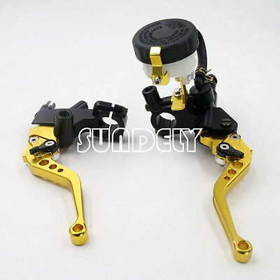 Motorcycle Universal Gold Clutch Brake Levers Master Cylinder Reservoir 7/8""