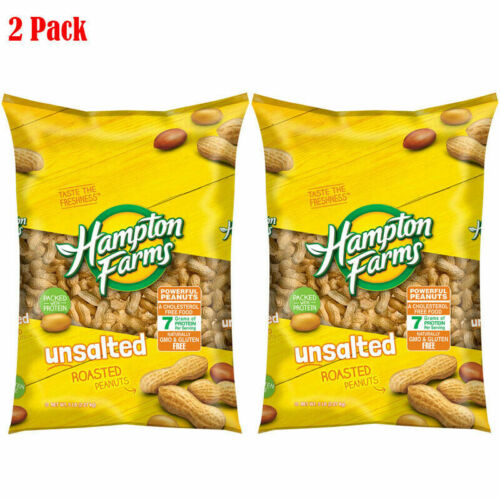 2 Packs - Hampton Farms Unsalted In-Shell Peanuts 5 lbs Total 10 lbs Gluten free