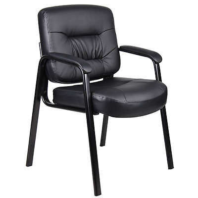 Lot Of 6 Black Leather Guest Reception Waiting Room Office Chairs