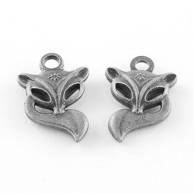 Fox Charm (4 Fox Charms Antiqued Silver Animal Charms Forest Animal)