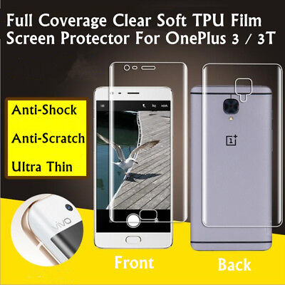 Front +Back Full Coverage Clear TPU Screen Protector Film For OnePlus 3 / 3T Lot Clear Screen Protector Film