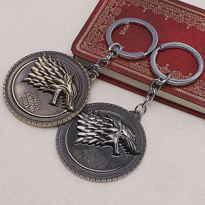 Antique HBO Game Of Thrones House Stark Head Pendant Metal Keyring Keychain Gift