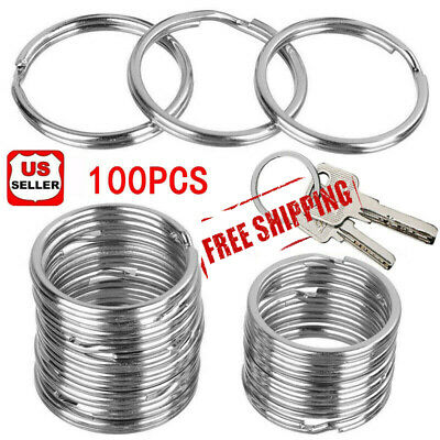 100Pcs Key Rings Chains Split Ring Hoop Metal Loop Steel Accessories 25MM Lot