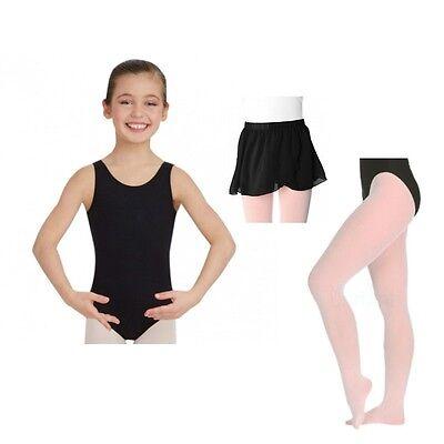 Capezio 142C Girl's Intermediate (6x-7) Black Tank Leotard Skirt and Pink Tights