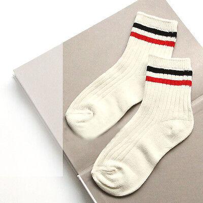Simple Style Winter Stripe Socks Women Cotton Casual Socks Soft Cozy Long Socks