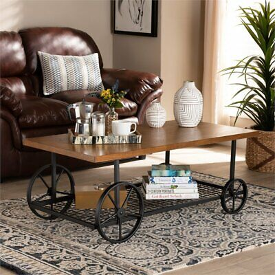 Baxton Studio Brown Finished Wood and Black Finished Metal Wheeled Coffee Table