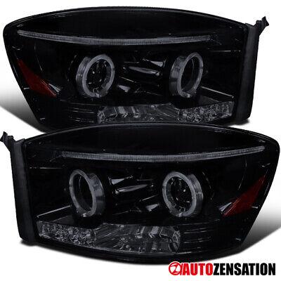 For 2006-2009 Dodge Ram 1500 Glossy Black Smoke LED Halo Projector Headlights