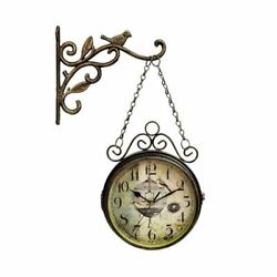 Wrought Iron Wall Clock For Living Room Home Decoration Retro Double Sided Watch